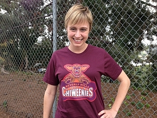 Amy Vorpahl Wearing Beverly Hills Fighting Chiweenies tshirt