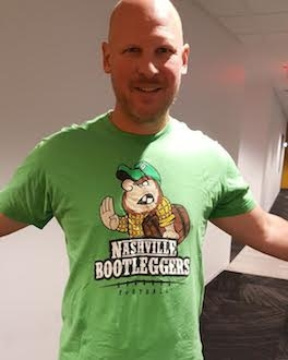 Mike Bacsik Wearing Nashville Bootleggers T-shirt