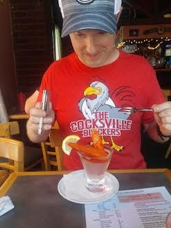 A Lobster Martini Wearing the Cocksville Blockers T-shirt