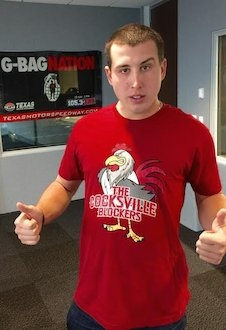 Pitcher Derek Holland Wearing the Cocksville Blockers T-shirt