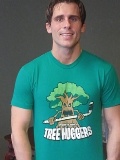 Jake Wearing Portland Tree Huggers t-shirt