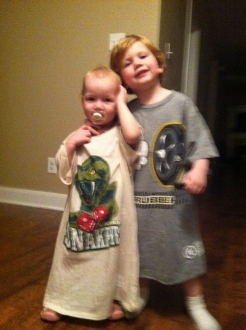 Kids Wearing Awesome Sports Logos t-shirts