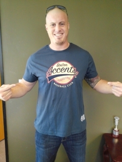 Marc Colombo wearing Boston Accents Tshirt