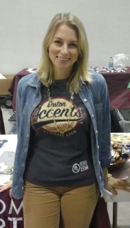Rian wearing her Boston Accents tshirt