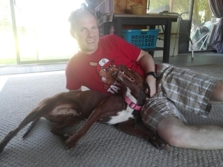 Happy Rescue Dog with Idaho Tshirt