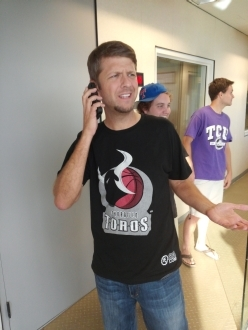 Skin Wade on the phone awesome t-shirt picture